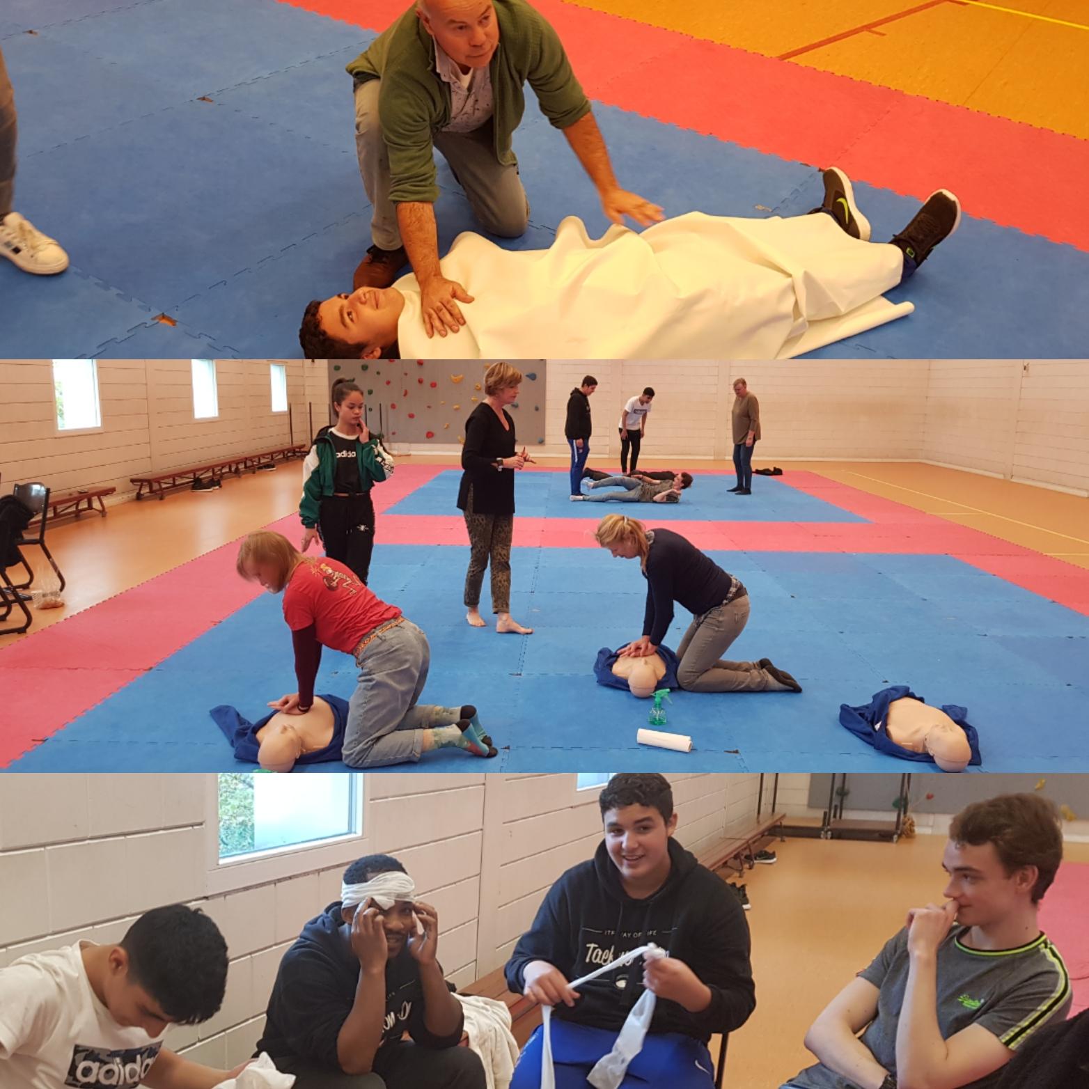 Leraren van Taekwon-Do School Amsterdam in actie tijdens de BHV-cursus