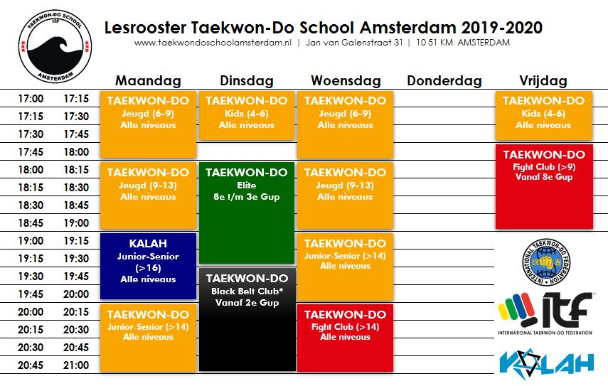 Lesrooster Taekwon-Do School Amsterdam 2019-2020 v 29.10.2019
