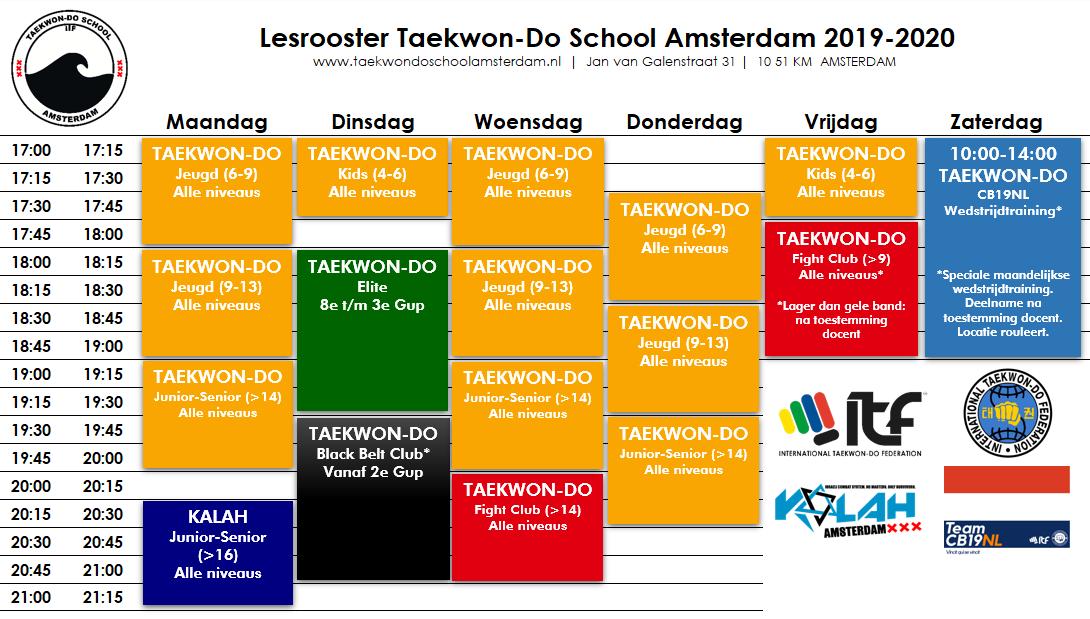 Lesrooster Taekwon-Do School Amsterdam 2019-2020 v2019.12.28