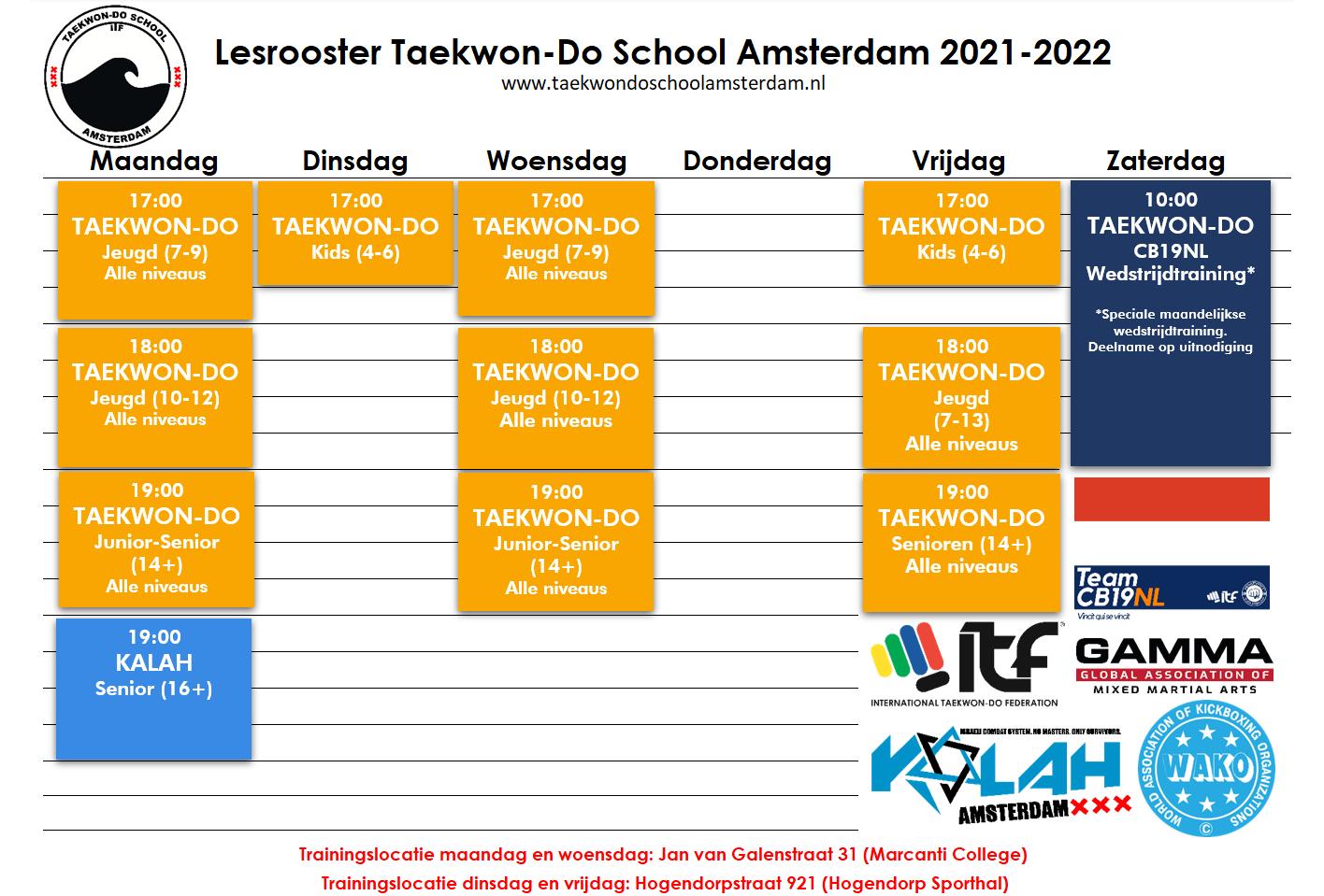 Lesrooster Taekwon-Do School Amsterdam 2021-2022